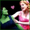 lokifan: Shot of Elphaba and Glinda singing a duet, cartoon heart between them (Elphaba/Glinda)