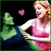 lokifan: Shot of Elphaba and Glinda singing a duet, cartoon heart between them (Elphaba/Glinda)