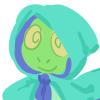 caramelchameleon: a cartoon chameleon in a little hood (hood)