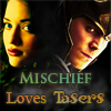 darcy_loki: Darcy/Loki: 'Mischief Loves Tasers' (Darcy/Loki: Main Icon, Mischief Loves Tasers)