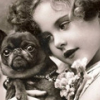 astrobravo: photo of old-fashioned girl in black and white, gazing adoringly at a pug (girl, dog) (Default)