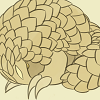 pangodillo: a pyrite-colored pangolin with glowing eyes curling into a protective ball (Default)