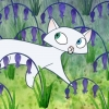 dreamerinsilico: a small, stylized white cat (Pangur Ban from The Secret of Kells) (cat)