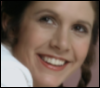 mosylu: an image of Carrie Fisher as Leia Organa, smiling (leia)