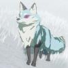 kitsune_scribe: A snow fox from Legend of Zelda Breath of the Wild, with purple eyes. (BOTW, BOTW fox, Fox, Kit, Kit BOTW)