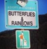 """goldenfalls: Photo of a signpost that reads """"Adopt a highway: butterflies & rainbows"""" and has a picture of a person picking up trash. (Default)"""