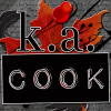 k_a_cook: Square icon with text reading k. a. cook in white-outlined serif and impact label type. Text sits against a backdrop of a red leaf, a red pushpin and grey handwritten-style text on a dusty chalkboard background. (Default)