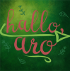 k_a_cook: Square icon with text reading hallo aro in bright pink script type. Text sits against a backdrop of green surrounded by small, crude leaf and branch drawings. (hallo aro)