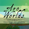 k_a_cook: Cartoon image of farmland, overlaid with the dark green/light green/white/grey/black stripes of the aro pride flag. The text Aro Worlds Connecting Aro Creatives and Aro Audiences sits across the image in a black, antique handdrawn type. (aroworlds)