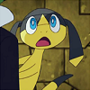 caramelchameleon: The Pokemon Helioptile looking up in open-mouthed surprise. (oh?)