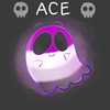 """just_another_shipper: This is a picture of a ghost colored like the asexual flag (purple, grey, white, and black) with the words """"Ace"""" framed by two cartoon grey skulls (Ace Icon)"""