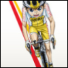 higglety: Onoda Saccamuchi from Yowamushi Pedal, a small boy wearing a yellow and white school cycling team uniform, on a racing bicycle riding towards the viewer. White background, two graphic stripes in red and yellow along left side of image (Onoda)