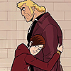 ladydreamer: Red haired boy hugs a blond giant of a man. (brock samson, venture fam)