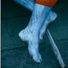 toujours_nigel: blue-painted feet crossed at the ankle against a teal bg (gods, kanai)