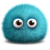 besina: Cute ball of blue fluff with eyes (blue, fluffy, icon, monster)