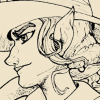chalklinechickadee: line art profile of sharp featured lady pirate (cap, capgrae)