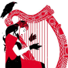 theroguedragon: art of scarlet witch playing harp (art, scarlet witch)