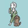 adrianners: Simple art of Viktor in jinbei, holding a drink. Makkachin is at his feet. (Vitya & Makka)
