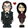 propergoffick: the Shalka Doctor and Toshiko Sato, only small and cartoonified (doctor whomst)
