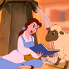 zellephantom: Belle from Beauty and the Beast showing an open book to a sheep (sheep)