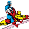 drwhlqist: Captain America riding Iron Man (screenshot from an old comic) (captain america, funny, iron man)