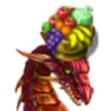 procrastisnack: me: a dragon with a bowl of fruit on her head (me)