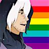 amor_remanet: Takashi Shirogane from Voltron: Legendary Defender, with long hair, against Gilbert Baker's original 8-stripe rainbow pride flag (gay shiro: happy)