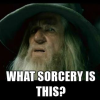 "ateanalenn: a pic of Gandalf in that ""I have no memory of this"" moment, with the quote ""what sorcery is this?"" (sorcery is this??)"