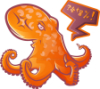 ateanalenn: a drawing of an orange octopus with a text bubble like %$* (angry octopus)