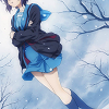 friendshipbeam: Yuki standing in the snow. ([haruhi] sad girl in snow)