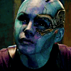 sciatrix: Alien cyborg woman Nebula glares up at the camera, jaw set. (determined)