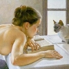 felinejumper: A topless woman slumped on a book and looking at a cat (exhausted reading)