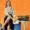 breathedout: smug blonde next to a typewriter (office life)