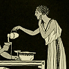 pruesumably: grecian urn painting of a standing lady pouring wine into cups (pour you)