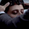 greywash: Eliot, being crowned by Quentin, eyes closed. (eliot crowned)