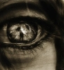 propergoffick: an eye with a distant figure reflected therein. monochrome. (spooky eye)