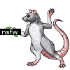 """rhattusreviews: a drawing of a gray rat holding a black """"NSFW"""" label in a fencing pose (censored)"""
