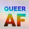 denaceleste: all caps queer af in bold rainbow with a pale rainbow background (queer pride)
