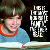 "eulalia: Upset child, book, and the words ""This is the most horrible fanfic I've ever read"" (just horrible)"