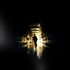 vanitashaze: An indistinct figure running down a dark hallway, silhouetted by light (blinding light)