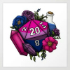 pearwaldorf: a bisexual flag color themed d20 surrounded by crystals, flowers, and a blue mana potion, all in the same palette (misc - bi d20)