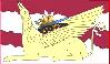 thirteenie: Golden griffin against a reddish and white background (Golden griffin)