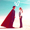 electric_heart: Superman & Lois standing facing each other with a heart above their heads (Lois & Superman)