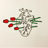 pearwaldorf: a line drawing of a human heart. red roses are stuck through it (misc - roses heart)