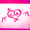 hellofriendsiminthedark: A pink doodle of a stylized heart with wings; the heart is composed of a bass and treble clef (╓♥╖)