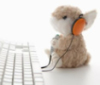 silversandbea: A rabbit wearing headphones at a keyboard (Default)
