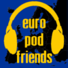 "sylvaine: Text says ""europodfriends"" in yellow on a blue background. There's a black silhouette of a map of Europe behind the text. ([gen:text] europodfriends)"