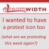 "beatrice_otter: Dreamwidth logo with text ""I wanted to have a protest icon too (what are we protesting this week again?)"" (Protest)"