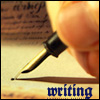 """thedarlingone: nib pen and parchment, captioned """"writing"""" in fancy letters (writing pen)"""