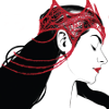 saphylphyl: Illustration of a youg black-haired woman with a red crown (Scarlet Witch)